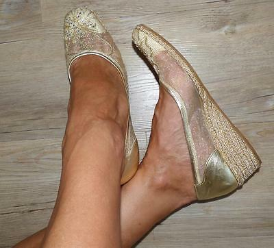 CRISTIAN Italy VINTAGE GOLD mesh WEDGE HEEL SHOE 8.5 Diamante leather GORGEOUS!
