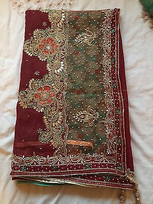 Maroon And Green Heavy Embroidered Half And Half Saree/Sari Bollywood
