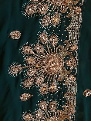 Green Heavy Embroidered Saree/Sari Bollywood
