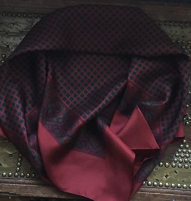 Vintage Made In England Paisley Pattern Large Silk Scarf 36x35 Inches