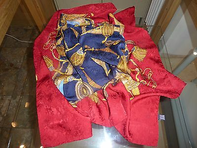 Large, Vintage, 100% Silk Scarf, Red/blue, Equestrian Themed. Vgc