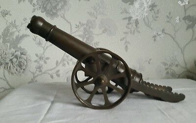 A Large Brass Canon, Trench Art, Moving Wheels