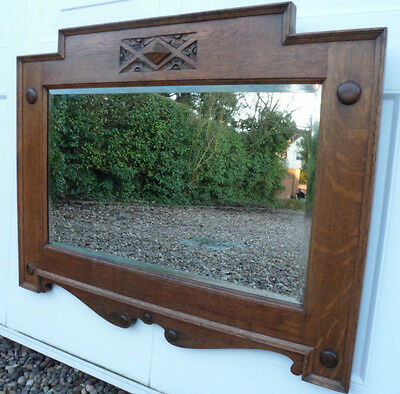 Antique/Vintage Arts and Crafts/Deco Oak Carved Wooden Overmantle/Wall Mirror