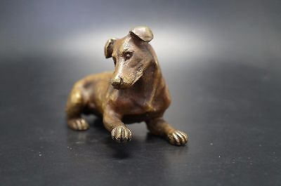 VTG Bronze FOX TERRIER Dog Parson Jack Russell Rat