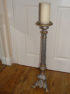 Vintage Heavy Cast Iron  floor standing candle stick holder.