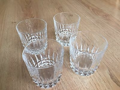 Set Of 4 Cut Glass Whiskey Tumblers Made By Cristal D'Arques