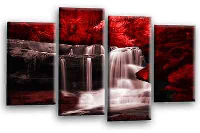 Large Red Grey Black White Waterfall Canvas Wall Art Picture Print 4 Panels