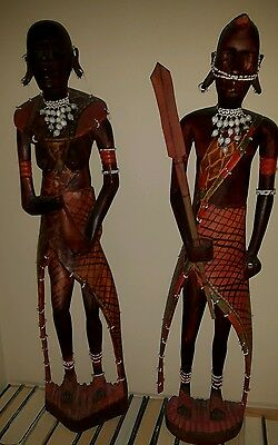 "antique/vintage African carved wood figures huge 26 and 25"" tall!"