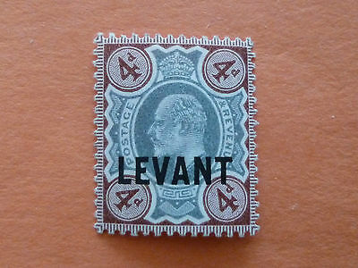 British Levant 1905-12  SGL7a  4d Green & Chocolate Brown  Mounted Mint