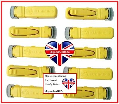 10x Unistik 3 NORMAL Yellow Lancets Blood Glucose Finger Pricker DIABETES CE