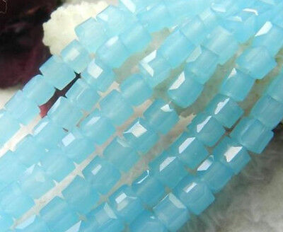 30pcs x 8mm Lake Blue AB Opaque Crystal Faceted Cube Glass Square Beads