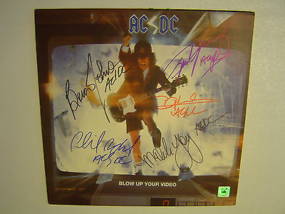 AC/DC Autographed Signed By 5 Album Record Cover ''Blow Up Your Video'' COA/ACA