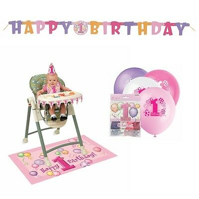 1st. Birthday Balloons Pink Birthday  Party Decoration Kit