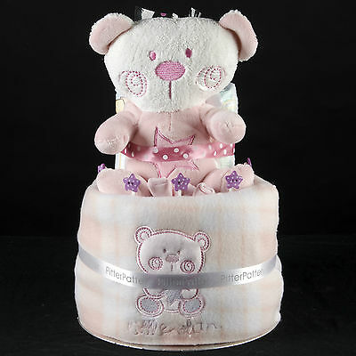Cute BEAR 2 Tier Baby GIRL Nappy Cake Baby Shower New Baby Gift FAST DELIVERY!!!