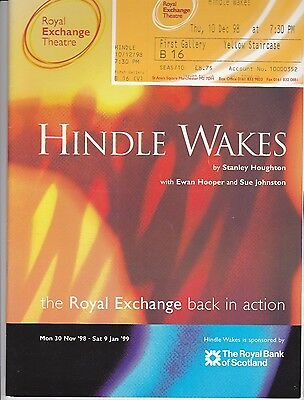 Theatre programme and ticket stubs HINDLE WAKES Sue Johnson 1999