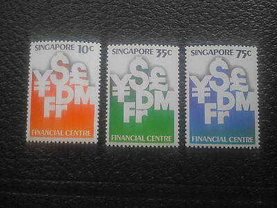 Singapore set of financial stamps.