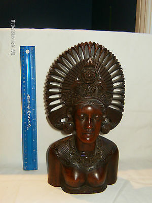 OUTSTANDING Bali Art Hand Carved Wood Sculpture Girl Figurine Bust -Klungkung