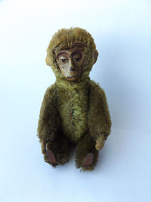 Lovely Antique Vintage 1920's Miniature Rare Brown Mohair Schuco Jointed Monkey.