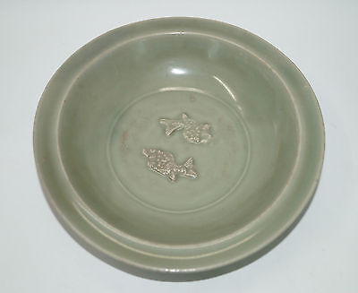 Rare Song dynasty longquan celadon large plate with twin fish motif