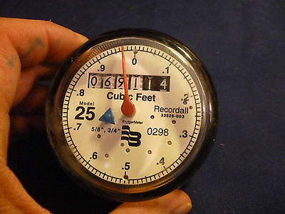 Badger Meter Cubic Feet Water Gauge Recordall Model 25 Steampunk Glass Dome