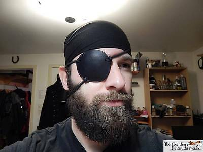 Pirate eye patch made of thick leather with 3 laces, cosplay, LARP, SCA, medical