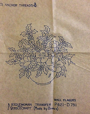 Vintage embroidery transfers, Wall Plaques, Flower baskets, Briggs