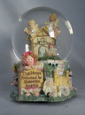 House Protected By Guardian Angels Musical Snow Globe Glitter Heart Tugs