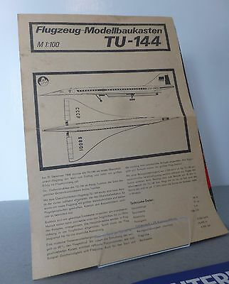 Tupolev TU-144 Aircraft Supersonic Jet Aircraft Kit Instructions & Decals