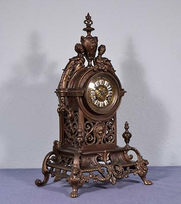 "*19"" Large Antique French Neogothic Bronze Clock Gothic"
