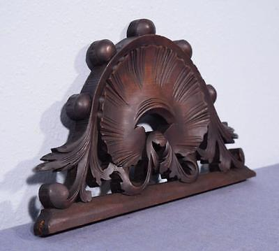 "*15"" French Antique Pediment/Crest in Walnut Wood Shell"