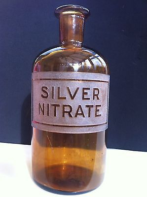 Silver Nitrate Amber Glass Apothecary Bottle