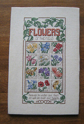 FLOWERS OF THE FIELD Sampler Debra Designs Completed Cross Stitch Thoreau quote