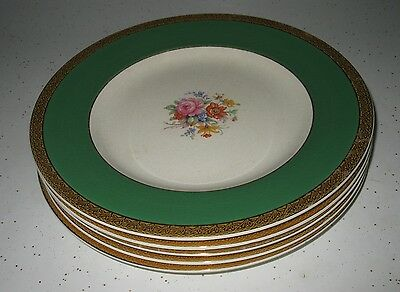 Set Of 5 English Crown Ducal Dinner Plates Hand Painted Marks On Bottom