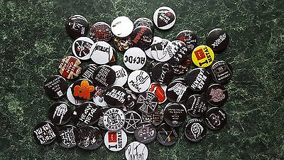 HEAVY METAL  60 x 1 INCH BUTTON BADGES JOB LOT CLASSIC HARD ROCK AC/DC HORNS