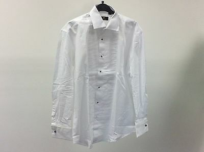 Mens White Standard Pleated Stud Button Formal Dress Shirt Size 15 - 12A483