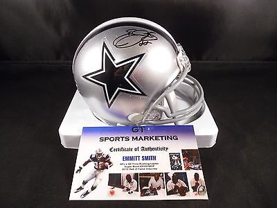 Emmitt Smith Dallas Cowboys Autographed Mini Helmet (Gtsm Certified)