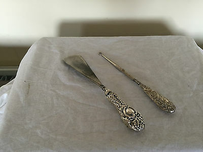 Two Solid Silver Handled Items Shoehorn & Boot Pull  ( Birmingham 1902 & 1912)
