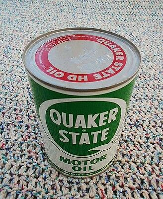 Vintage Unopen Full Quart Metal Can Quaker State HD Motor Oil SAE 20-20W Antique