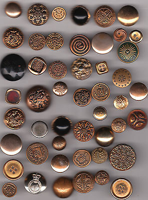 GOLD COLOR METAL BUTTONS DIFFERENT DESIGNS & PICTURES mix lot of 50