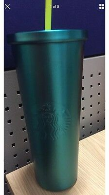 NEW 2016 STARBUCKS Stainless Steel Cold Cup AQUA GREEN 24 oz