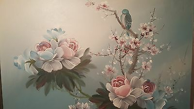 "Original quality art by STANLEY ""Blue Bird in Bright Flowers"" FRAMED"