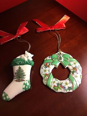 Spode Collection Lot of 2 Ornaments Stocking and Wreath     - No Box