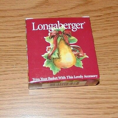 Longaberger PEAR Tie-On NEW IN BOX HOLLY WINTER CHRISTMAS
