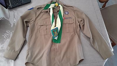 Canadian Boy Scout Uniform Shirt with Scarf - Size Large Youth