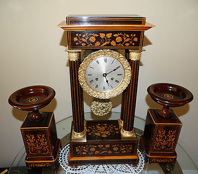 Beautiful French Empire Inlayed Mantel Clock Set With Two Vases