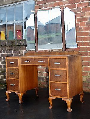 Quality Art Deco modernist walnut dressing table Waring and Gillow 1930s
