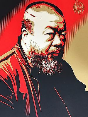 """Shepard Fairey Obey Giant """" Ai Weiwei: Cost of Expression """"  Signed 2014"""