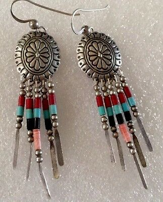 Southwest Qt Sterling Silver Dangle Pierced Earrings Beautiful!
