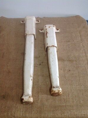 Antique Cast Iron White Porcelain Industrial Sink Legs Old Vtg Hardware