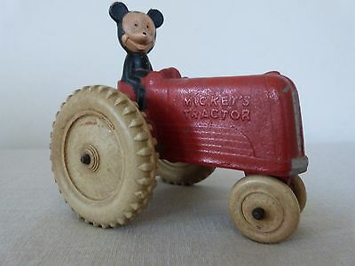 "VINTAGE DISNEY 1940's ""MICKEY ON TRACTOR"" RUBBER TOY BY SUN RUBBER"